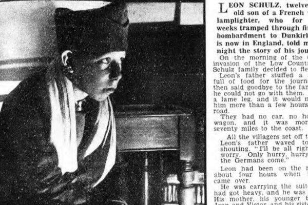 """Léon Schulz, 12 ans, en photo dans le """"Daily Express"""" du 3 juin 1940. Après avoir fui d'Escaudain et perdu sa famille sur la route, il fut recueilli par des soldats français et évacué avec eux de Dunkerque vers l'Angleterre."""