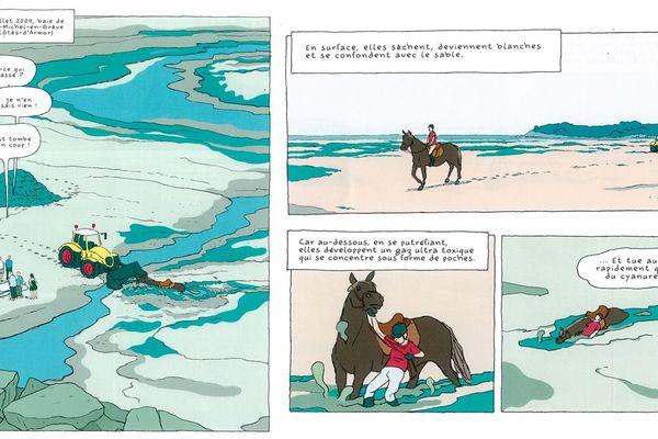 """Une des planches de la BD """"Algues vertes l'histoire interdite"""" signée par Inès Léraud"""