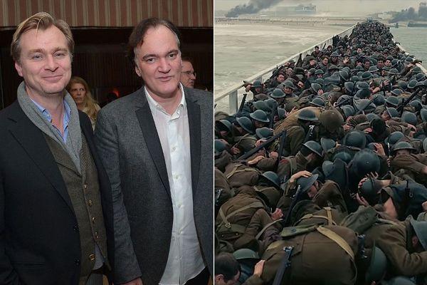 Quentin Tarantino (à droite) salue le travail de Christopher Nolan (à gauche) sur son film de guerre tourné à Dunkerque.