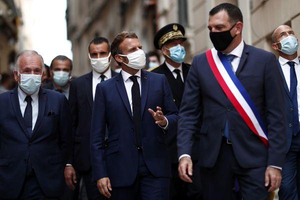 Jean-Charles Orsucci avec le président Macron à Bonifacio, en septembre 2020.