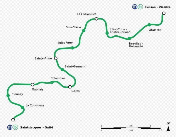 Tracé de la ligne b de métro à Rennes Métropole