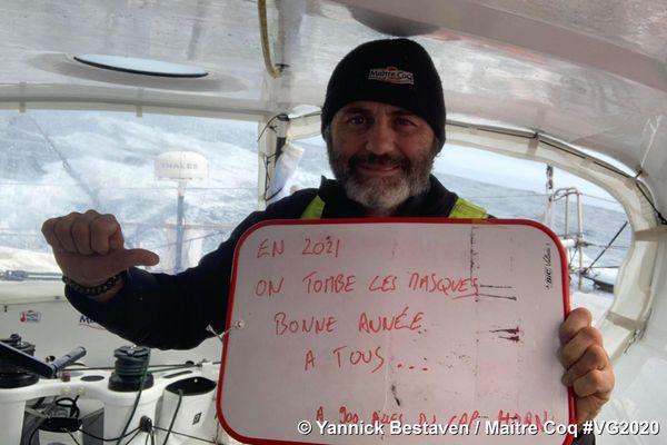 En approche du Cap Horn, Yannick avait une petite pensée pour ses copains skippers de La Rochelle