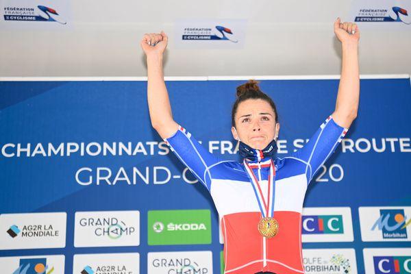 Quatre fois championne de France du contre-le-montre entre 2015 et 2018, Audrey Cordon-Ragot ajoute à son palmarès un titre national sur épreuve en ligne (ici à Grand-Champ le 22août 2020).