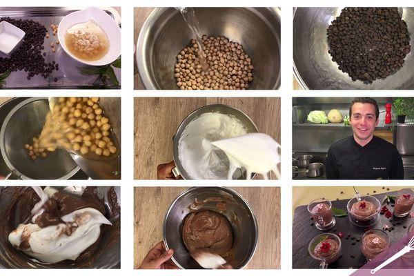 Les étapes de la mousse au chocolat sans gluten, sans œuf et sans lactose