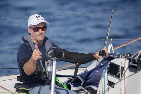 Fred Duthil (Technique Voile - Cabinet Bourhis Generali) lors de la 3e étape de La Solitaire du Figaro