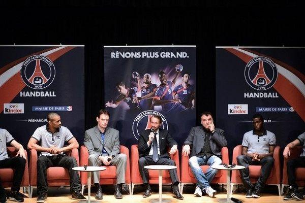 Mikkel Hansen, Luc Abalo, Marko Kopjlar et  Samuel Honrubia font partie de l'équipe de rêve du PSG Handball.