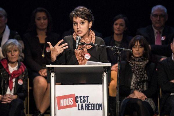 Najat Vallaud Belkacem était venu soutenir la liste de JJ. Queyranne mercredi à Lyon.