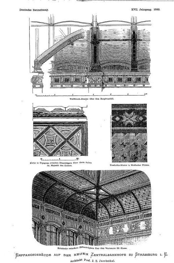 Planche d'illustrations de la Deutsche Bauzeitung de 1883.