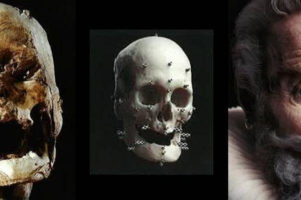 À droite, image reconstituée par Philippe Froesch (Visualforensic) à partir de la tête momifiée d'Henri IV authentifiée par l'équipe du Dr Philippe Charlier. © DR
