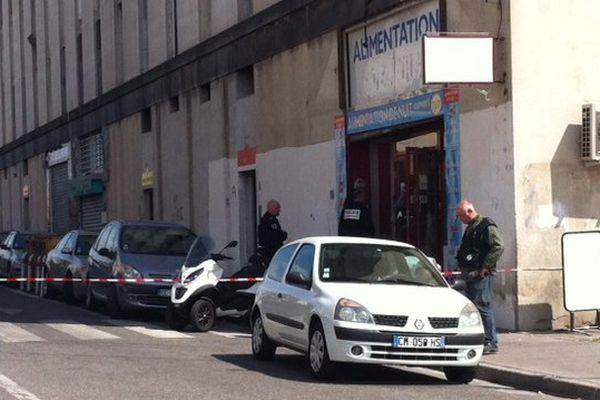 Boulevard Maison blanche à Marseille, ce matin après la fusillade.
