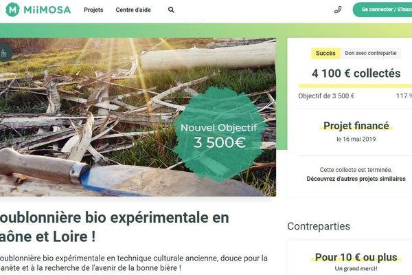 Capture du site de financement participatif MIIMOSA