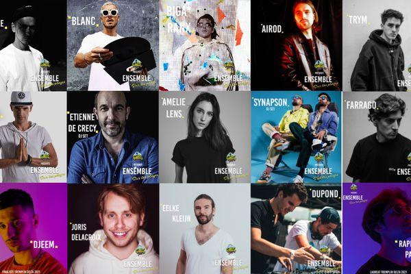 """L'ensembles des artistes qui seront présents sur la scène du festival """"Ensemble sur les plages"""", les 2 et 3 juillet 2021 à Marseille."""