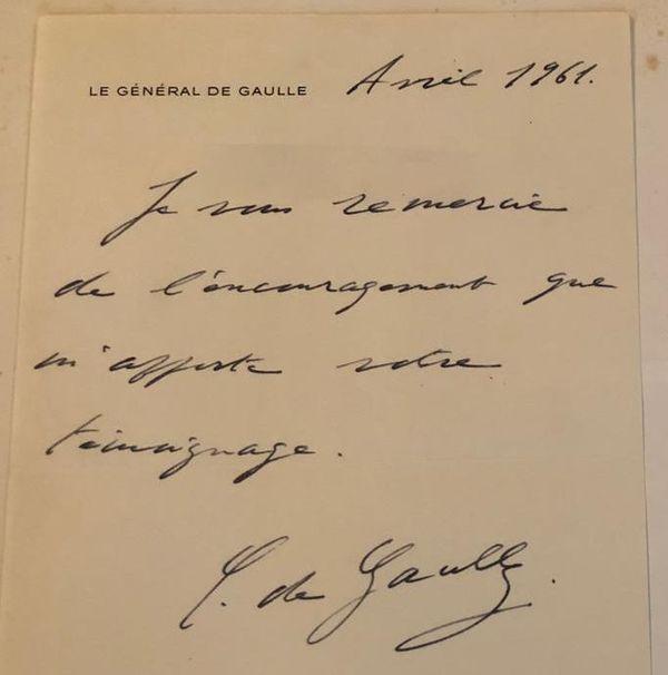 Lettre adressée à Mathilde Bravery en 1961 par le Général de Gaulle