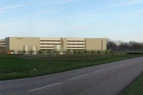 Vue virtuelle pour l'étude d'impact. Le bâtiment de 54.000 m² au sol s'élèvera sur quatre niveaux (24 mètres).