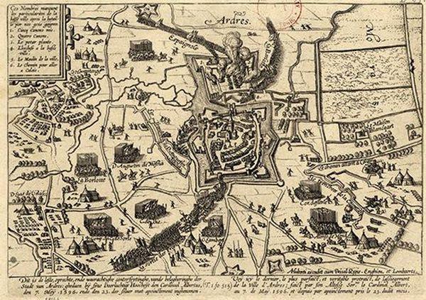 Plan des fortifications d'Ardres en 1596.