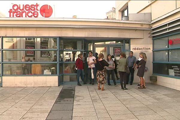 Les bureaux du quotidien Ouest-France ce lundi matin à Caen