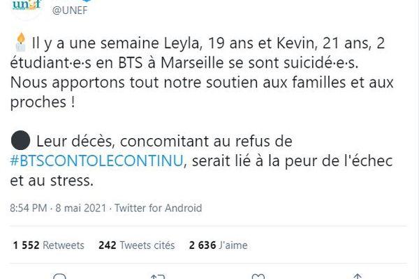 Copie du tweet de l'UNEF évoquant le suicide de deux étudiant.e.s en BTS à Marseille, avant sa suppression ce lundi.
