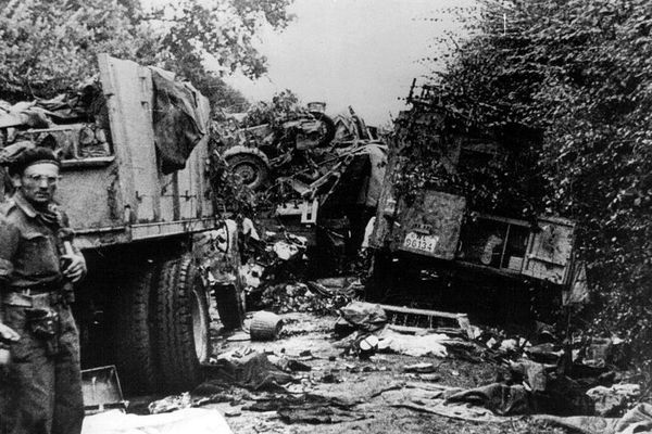 colonne allemande détruite par la 1ère division blindée polonaise, près de Falaise - Août 1944