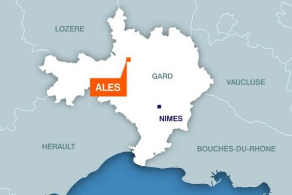 Carte d'Alès (Gard)