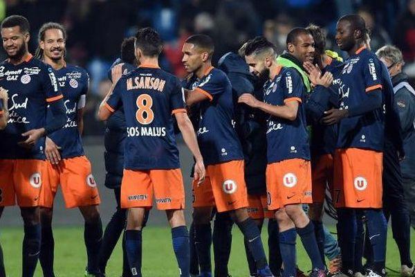 Archive. La joie des joueurs du MHSC après la victoire 3-0 sur le PSG - décembre 2016.