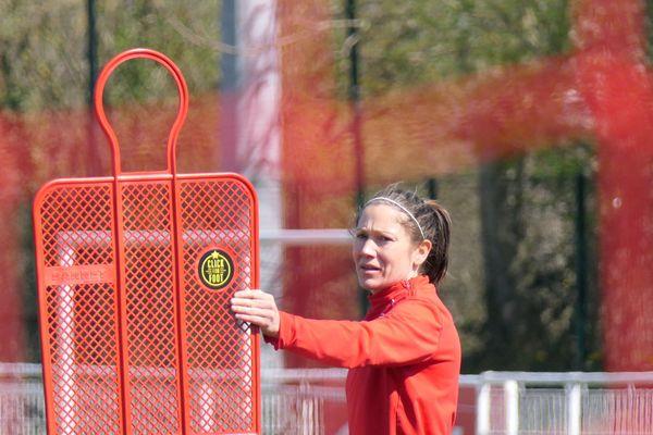 Elise Bussaglia, mercredi 27 mars au stade des Poussots, Dijon.