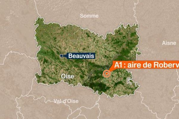 Carte : autoroute A1 - aire de repos de Roberval.