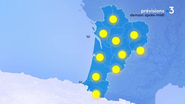 Du soleil sur toute la région demain après-midi ! Il y aura un peu de vent de Sud-Est sur l'estuaire de la Gironde...