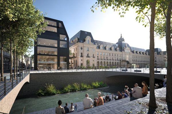 Futur palais du commerce de rennes avec d'une extension contemporaine sur l'aile est du bâtiment