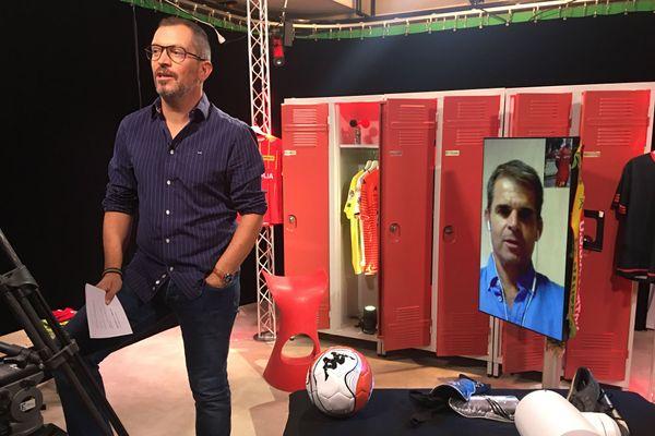 Didier Ollé-Nicolle, entraîneur Le Mans FC lors de l'enregistrement de l'émission #USBFOOT avec Anthony  Brulez