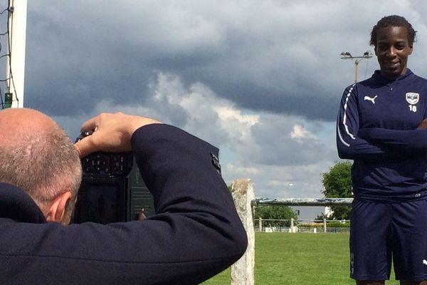 Viviane Asseyi au Haillan le 3 mai, c'est à dire le lendemain de l'annonce de sa titularisation en équipe de France pour le mondial.