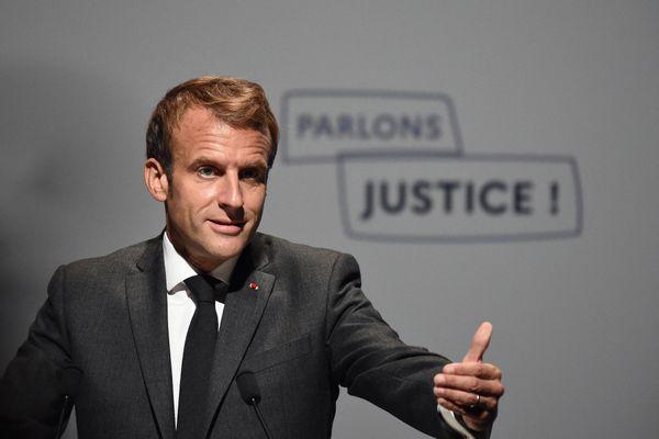 Emmanuel Macron à Poitiers lundi 18 octobre 2021 pour l'ouverture des Etats généraux de la justice.