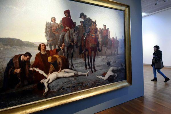 Charles le Téméraire retrouvée mort après la Bataille de Nancy (1865) d'Auguste FEYEN-PERRIN dans le musée des Beaux-Arts de Nancy