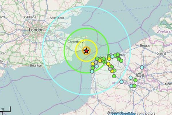 La carte du séisme ressenti la nuit dernière dans le Pas-de-Calais.