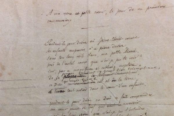 Le poème de Jules Verne écrit pur la communion de sa petite soeur Marie