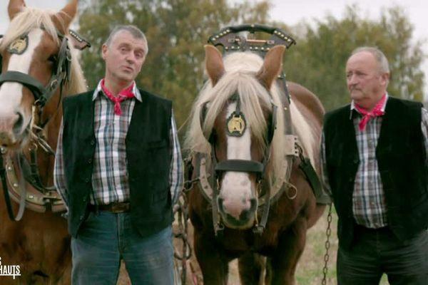 Michel Moreau et Jacques Roussel, champions de France de labour équin
