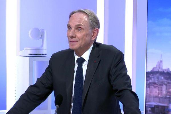 Yvon Berland, sur le plateau du journal de France 3 Provence, le 10/12/2019.