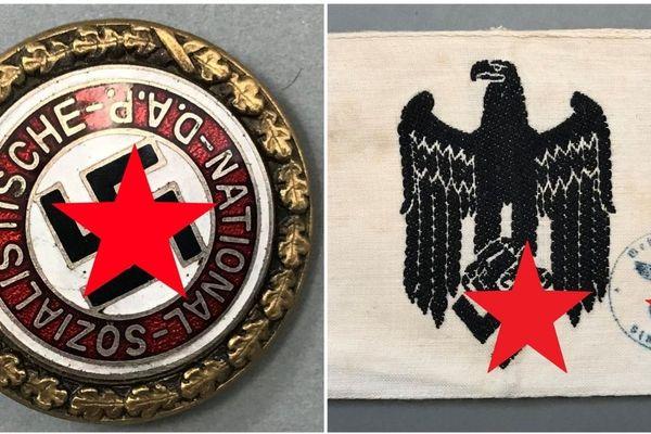 Insigne militaire en bronze patiné et émaillé et un brassard en toile, avec la croix gammée