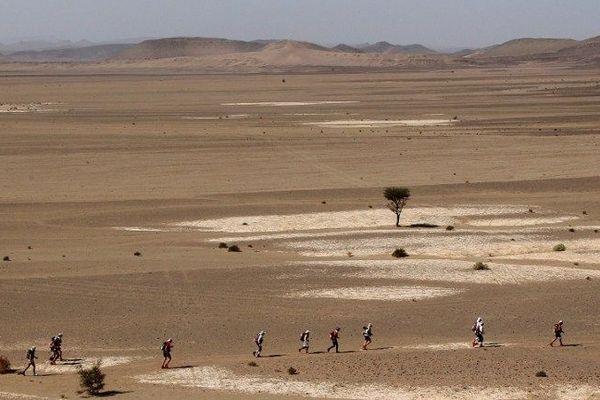 L'édition 2011 du marathon des Sables dans le sud du Maroc près de Ouarzazate.