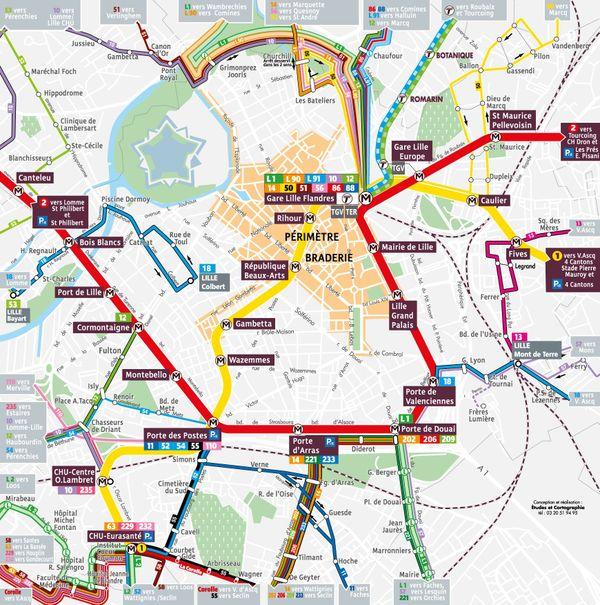 Plan de la ville avec le périmètre de la braderie et le tracé des différents transports de Lille.