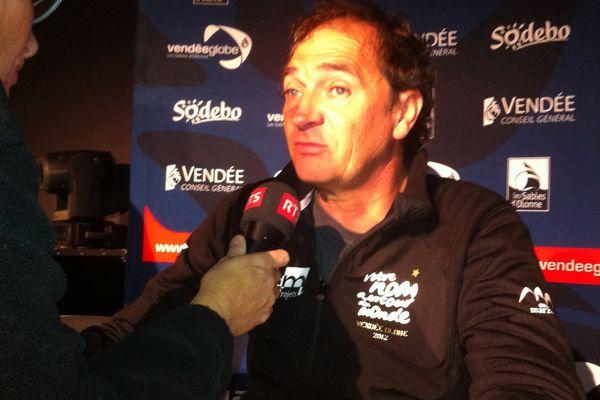 Bertrand de Broc lors de la conférence de presse à son retour au port