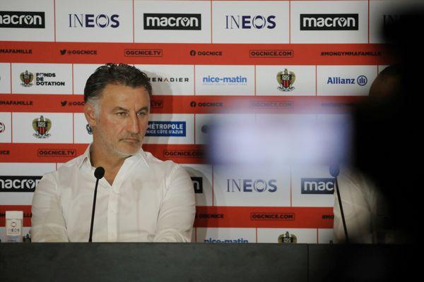 Christophe Galtier, nouvel entraîneur de l'OGN Nice, lors de sa première conférence de presse mardi 29 juin 2021.