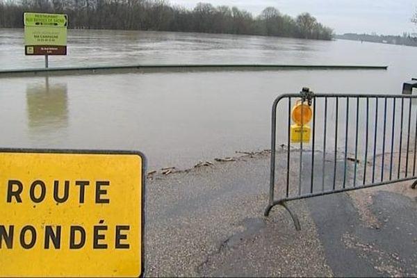 Le quai Bellevue inondé, à Chalon-sur-Saône (71)