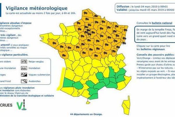 Carte de vigilance météorologique de Météo France - Bulletin du 4 mars, 6h