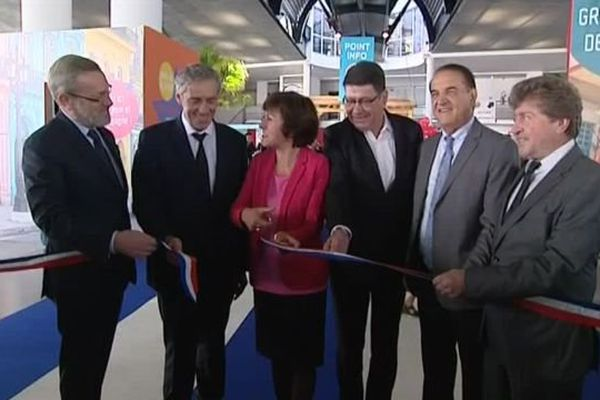 L'inauguration de la 68ème foire de Montpellier avec notamment la présidente de la région Occitanie Carole Delga aux côtés de Philippe Saurel, maire de Montpellier - 7 octobre 2016
