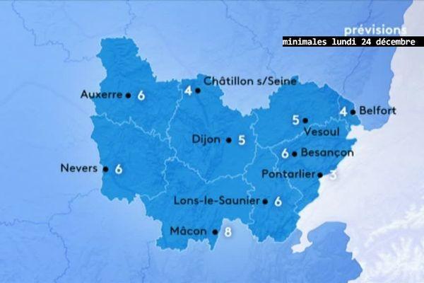 Les prévisions de Météo-France pour le matin du lundi 24 décembre