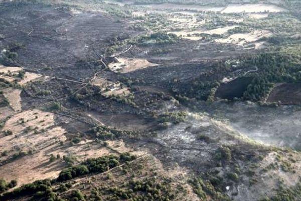 Au total, une centaine d'hectares avaient été ravagés par le feu dimanche en fin d'après-midi