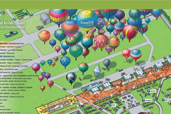 Le Grand Rendez-Vous du Mondial Air Ballons légendé sur cette carte.