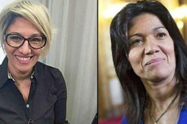 A gauche, Samia Ghali déguisée pour interpréter une mère divorcée qui cherche un logement.
