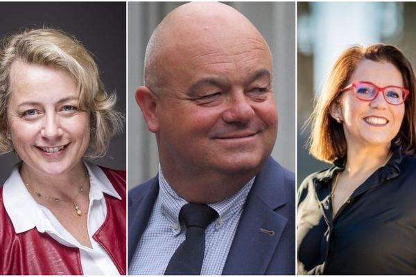 Isabelle Assih (à gauche), Ludovic Jolivet et Annaïg Le Meur sont face à face pour le débat du 2e tour des élections municipales de Quimper