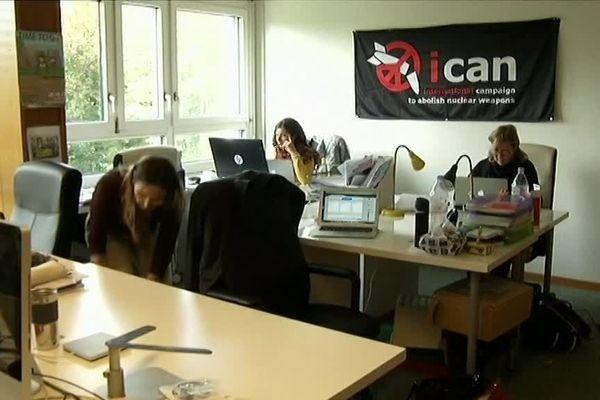 Siège de l'ICAN France à Lyon. L'organisation s'est vue décerner le prix Nobel 2017